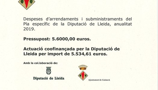 Pla específic finançament Diputació de Lleida 2019